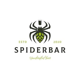 Modello di logo di ragno birra hop