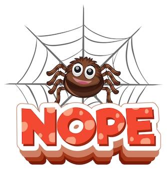 Personaggio dei cartoni animati di ragno con banner di carattere no isolato