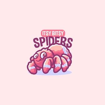 Modello di logo mascotte dei cartoni animati di ragno