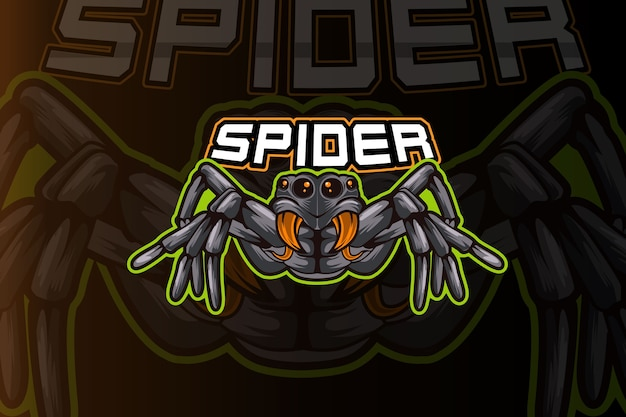 Modello di logo della squadra di e-sport ragno