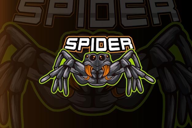 Modello di logo della squadra di e-sport di ragno