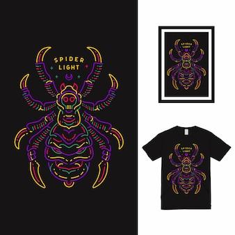 Design della maglietta spider light line art