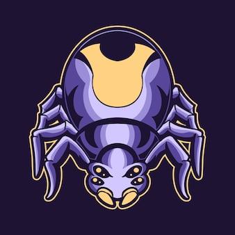 Illustrazione di logo del ragno isolato sul buio scuro