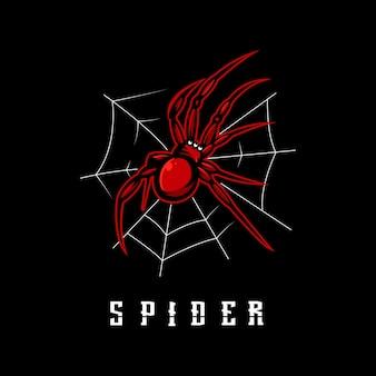 Vettore di progettazione del logo della mascotte del ragno con stile di concetto di illustrazione moderna per distintivo, emblema e abbigliamento. illustrazione di ragno rosso per sport, gioco o squadra