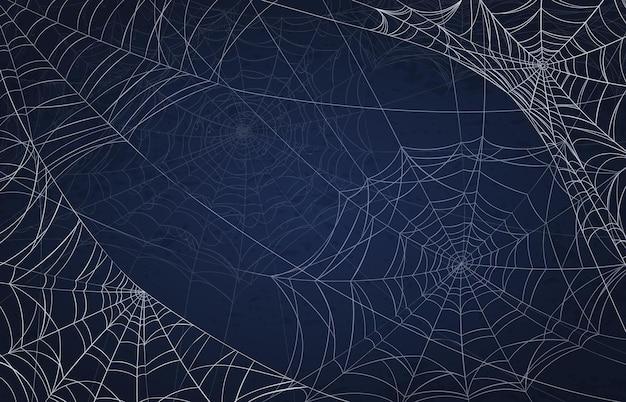 Sfondo di ragnatela per halloween. modello spettrale con ragnatele realistiche. decorazione di festa raccapricciante, trama di vettore di ragnatela goth spaventosa