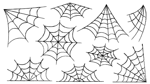 Insieme della ragnatela. decorazione di halloween con ragni. una ragnatela inquietante in un luogo abbandonato. contorno e linea illustrazione vettoriale isolato.