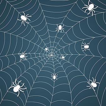 Ragnatela con ragni, motivo di ragnatela sullo sfondo