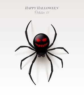 Ragno con un motivo sull'addome sotto forma di un sorriso minaccioso. illustrazione di halloween,