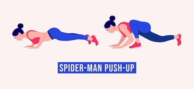 Esercizio spiderman push up allenamento donna fitness aerobica ed esercizi