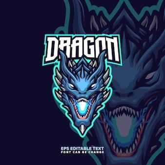 Modello di logo della mascotte di spike dragon