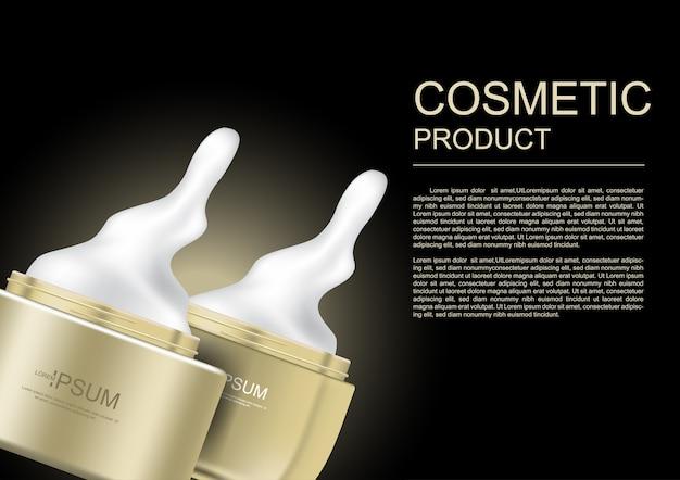 Versare crema cosmetica e vasetti d'oro