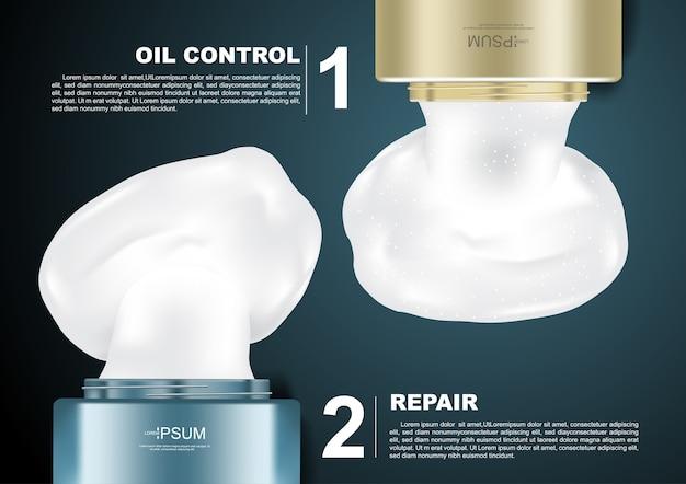 Versare la crema di prodotti cosmetici verdi e oro