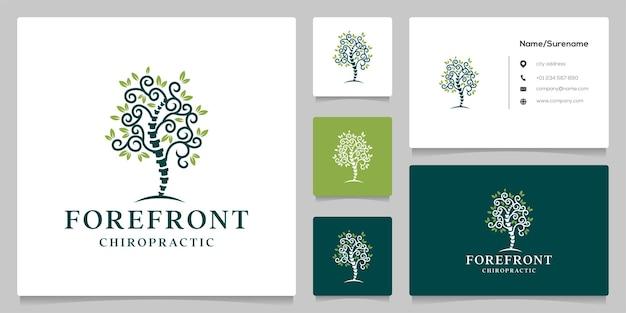 Disegno del logo della vita dell'albero della colonna vertebrale chiropratica design moderno del logo