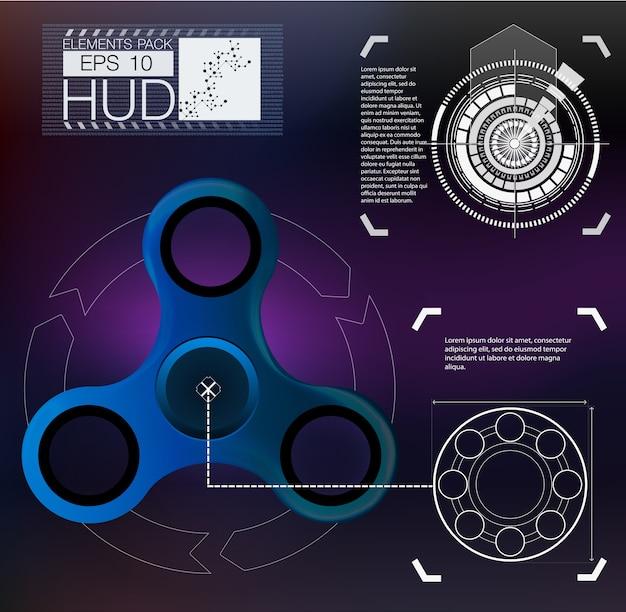 Spinner infographic, spinner di elementi hud. interfaccia utente futuristica.