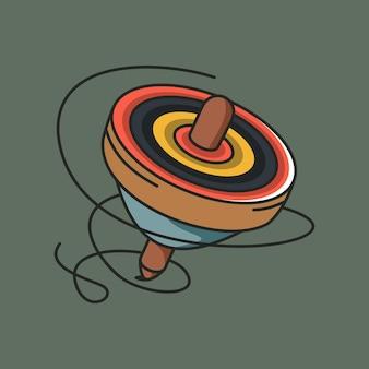 Illustrazione vettoriale di trottola giocattolo icona di hummingtops colorati