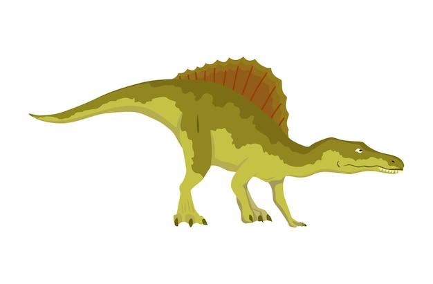Icona piana di dinosauro spinosaurus. mostro rettile preistorico isolato colorato