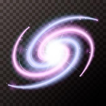 Galassia a spirale con un sacco di stelle su sfondo trasparente