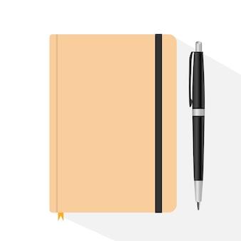 Illustrazione piana di disegno-vettore della penna e del taccuino a spirale