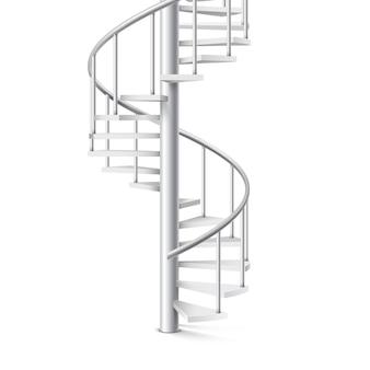 Scala a spirale oggetto realistico 3d su uno sfondo bianco