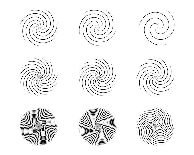 Insieme di elementi di design di cerchi di torsione con movimento a spirale e ricciolo. illustrazione vettoriale.