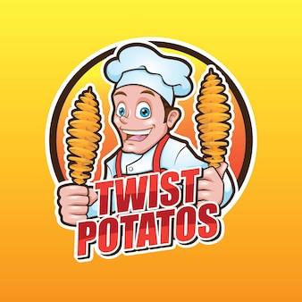 Disegno del logo della mascotte delle patate twist tornado a spirale