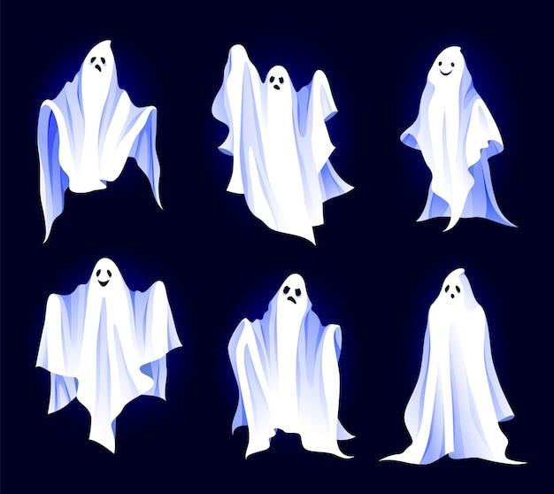 Set di icone di spiriti o fantasmi personaggi di fantasia