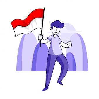 Spirito di patriottismo dei bambini indonesiani illustrazione concetto