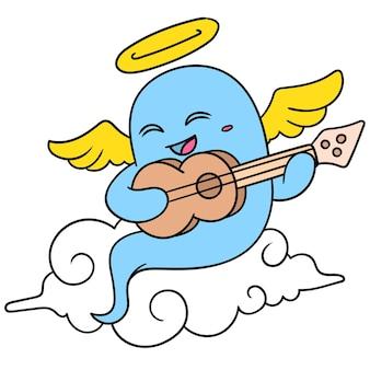 Gli spiriti degli angeli che erano morti cantavano allegramente canzoni sopra le nuvole, doodle icon image kawaii