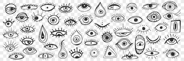 Insieme di doodle dell'occhio occulto spirituale