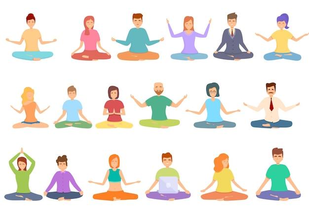 Set di icone di pratiche spirituali. set di cartoni animati di icone di pratiche spirituali