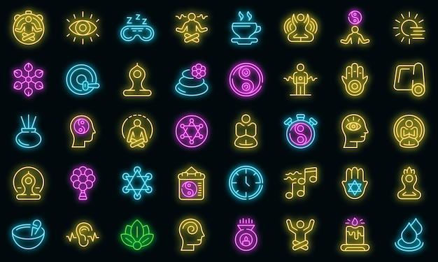 Set di icone di pratiche spirituali. delineare l'insieme delle pratiche spirituali icone vettoriali colore neon su nero