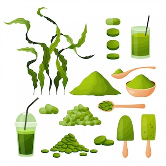 Spirulina cartoon set con alghe in polvere compresse capsule frullato gelato alghe isolato su sfondo bianco,