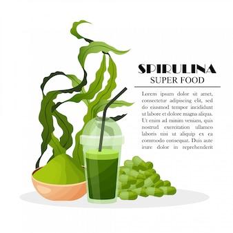 Manifesto di spirulina con le alghe del frullato delle pillole della polvere delle alghe isolate su fondo bianco, illustrazione. cibo salutare