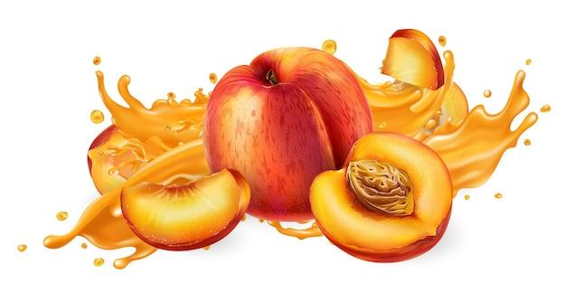 Spruzzata di succo di frutta e pesche fresche.