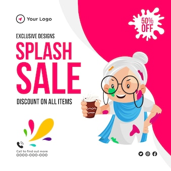 Sconto di vendita splash holi su tutti gli articoli banner design