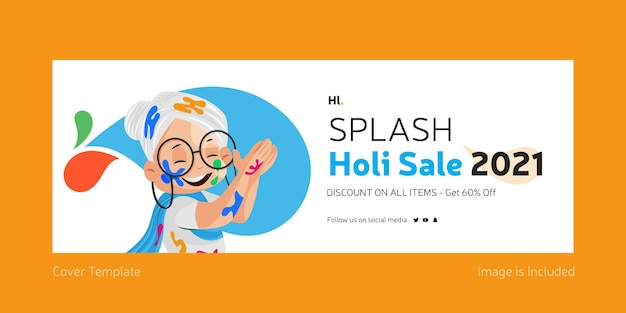 Splash holi vendita modello di copertina facebook design