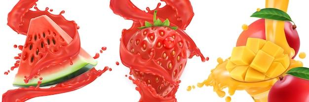 Spruzzata di succo. anguria, fragola, mango, frutti estivi e bacche. insieme dell'icona di vettore realistico 3d