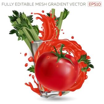 Spruzzata di succo di verdura in un bicchiere e pomodoro con sedano su uno sfondo bianco. illustrazione realistica.
