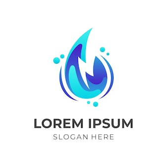 Onda splash, acqua e onda, logo combinato con stile di colore blu 3d