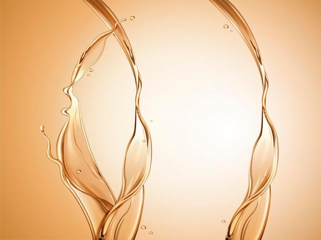 Elemento di spruzzi d'olio, liquido trasparente dorato