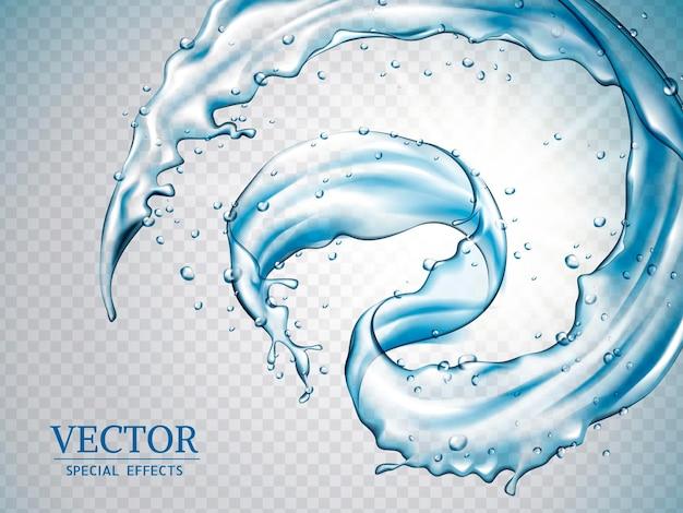 Spruzzi d'acqua, schizzi d'acqua dinamici isolati