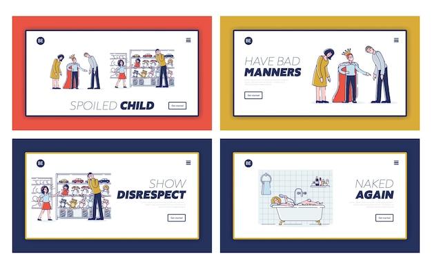 Bambini viziati, cattive maniere e mancanza di rispetto per i genitori insieme di modelli di pagina di destinazione