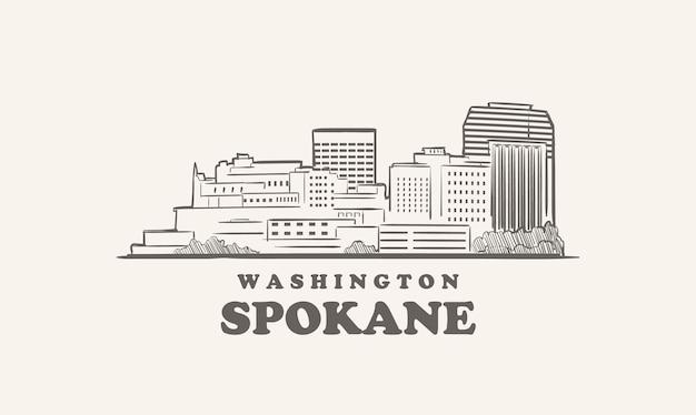 Orizzonte di spokane, grande città di schizzo disegnato di washington