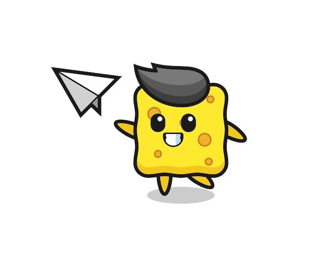 Personaggio dei cartoni animati in spugna che lancia aeroplano di carta, design in stile carino per maglietta, adesivo, elemento logo