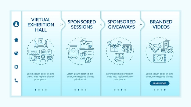 Modello vettoriale di onboarding di eventi remoti di sponsorizzazione. sito mobile reattivo con icone. procedura dettagliata della pagina web in 4 schermate. esposizione, video brandizzati a colori con illustrazioni lineari