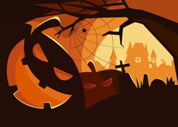 Banner spettrale con teste di zucca. cartello di halloween in stile cartone animato.