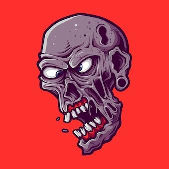 Testa maschile di zombie spettrale del fumetto isolata sul rosso