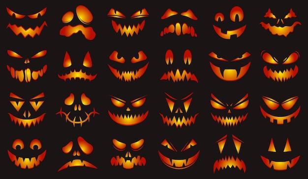 Facce spettrali di halloween insieme dell'illustrazione di vettore delle facce spaventose delle zucche d'ardore felici