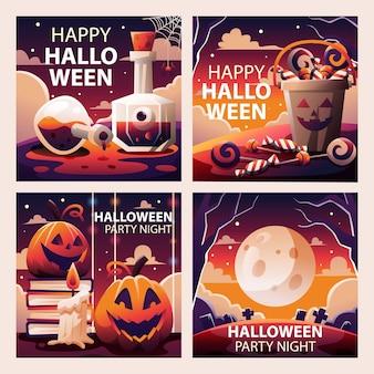 Raccolta di modelli di social media di halloween spettrale