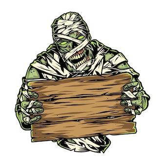 Mummia spettrale che tiene una tavola di legno vuota in stile vintage